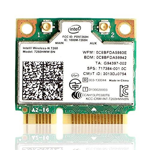 Intel Dual Band Wirless- MQUPIN Intel 7260.HMW Dual Band Wireless Card-AC 7260 Network Adapter+Bluetooth 4.0 USE for Intel AC Half Mini Pcie Card 802.11 b/a/g/n/ac(1 Pack)