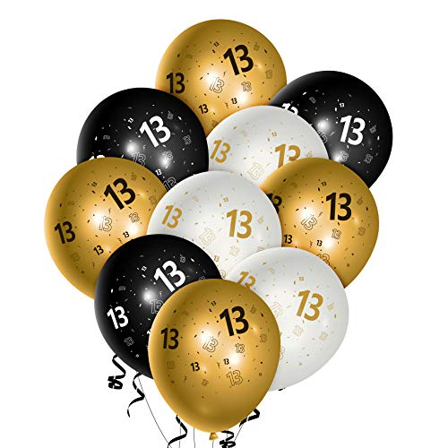 WATINC 36Pcs 13th Birthday Latex Balloons, 12inch Black Gold White Balloon for Official Teenager Happy 13th Birthday Decorations, Anniversary Party Supplies,13th Party Sign for 13 Years Old Boys Girls