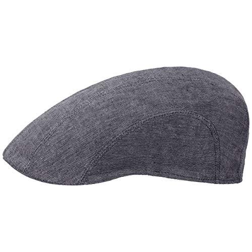 Stetson Madison Leinen Flatcap - Flat Cap aus Leinen Herren/Damen - Gefütterte Leinencap - Schiebermütze mit UV-Schutz (40+) - Schirmmütze Frühjahr/Sommer - Sommercap grau 58 cm
