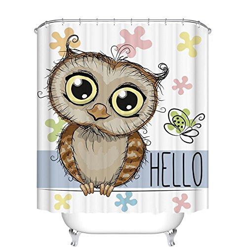 Fangkun Kinder Duschvorhang Cartoon Eule Muster Kunst Badezimmer Dekor – Wasserdichtes Polyestergewebe Badvorhänge Set – 12 Duschhaken – 183 x 183 cm