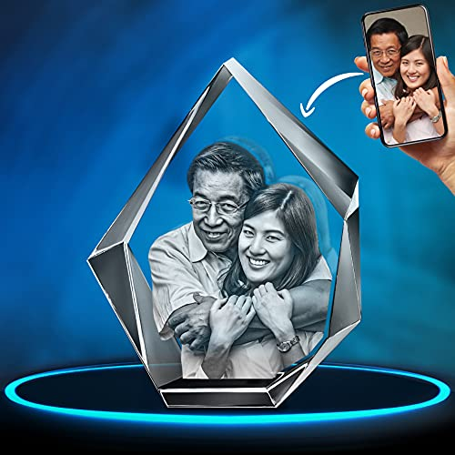 ArtPix 3D Crystal Photo, 3D Laser Etched Picture, Engraved Iceberg Crystal, Personalized Memorial Birthday Gifts for Mom Dad, Him Her, Men Women, Customized Anniversary Couples Gifts for Wife, Husband