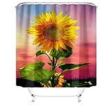 Eleusine 4-teiliges Sonnenblumen-Duschvorhang-Set mit rutschfestem Teppich, Toilettendeckel & Badematte, wasserdichtem & langlebigem Duschvorhang, geeignet für Badezimmer (Stil 5)