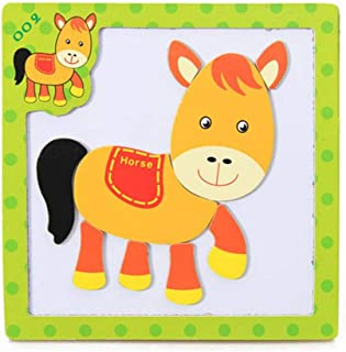 Wenjuan Wooden Puzzle Spelling Music Three-Dimensional Magnetic Puzzle Game Cartoon Animal Cognition Learning Educational Developmental Toy Gift Kids Baby (F)