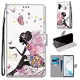 Miagon Flip PU Leder Schutzhülle für Samsung Galaxy Note 10 Plus,Bunt Muster Hülle Brieftasche Case Cover Ständer mit Kartenfächer Trageschlaufe,Schmetterling Mädchen -