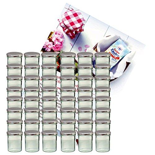 MamboCat 48er Set Sturzglas 350 ml Marmeladenglas Einmachglas Einweckglas to 82 silberner Deckel incl. Diamant-Zucker Gelierzauber Rezeptheft