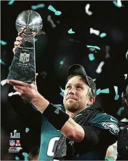 Nick Foles Philadelphia Eagles with the Vince Lombardi Trophy Super Bowl LII 8x10 Photo