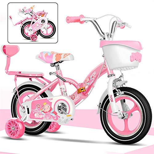 LAYG-Bicicleta 12-18 Pulgadas Bicicletas Doblar Infantiles, Bici Plegable para Niñas, Bicicleta Infantil...