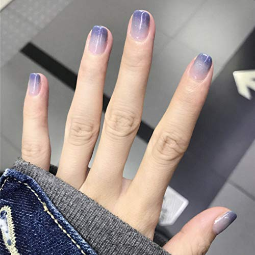 Edary 24pcs Gradient Fake Nails Purple Gel Medium Length Square Full Cover Press on False Nails for Women