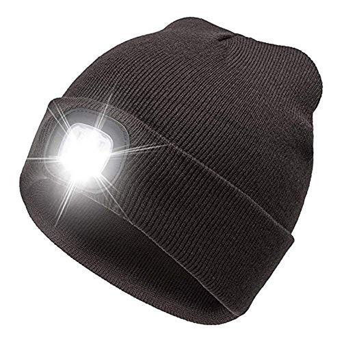 CHENC Linterna Frontal Unisex Light-up LED Sombreros de Invierno Sombreros de Faros de Punto Suave Calentamiento de los Faros Beanie Sombreros for Mujeres Pesca Caza Camping Climbing