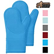 Gorilla Grip Premium Silicone Non Slip Oven Mitt Set, Flexible Oven Gloves, Professional Heat Resistant Kitchen Cooking Mitts, Protect Hands from Hot Stove Surfaces, Cookie Sheets, Pair, Set of 2