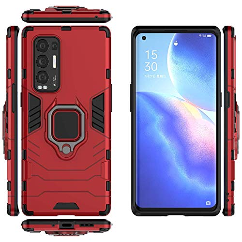 QiongNi Case for Oppo Find X3 Neo Case Cover,Magnetic Car Mount Bracket Shell Case for Oppo Find X3 Neo CPH2207 / Reno 5 Pro+ 5G PDRT00 PDRM00 / Reno 5 Pro+ Artist Case Red