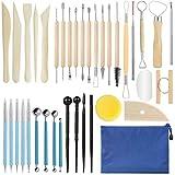 GuKKK Herramientas de Arcilla, 38 Piezas Herramientas de Modelado de Arcilla Set, Herramientas de Punteo, Ball Stylus Dotting Tools, Herramientas de Sangría de Cerámica, para DIY Arte Cerámica