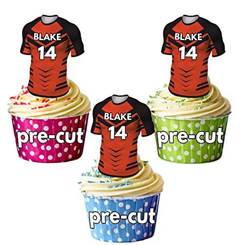 AK Giftshop PRECUT gepersonaliseerde Rugby shirts met uw gekozen naam & NUMBER - eetbare cupcake toppers/taart decoraties Castleford Tijgers kleuren (Pak van 12)