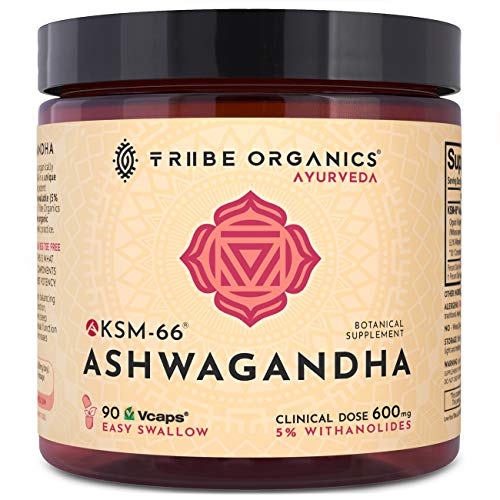 KSM-66 Ashwagandha Full-Spectrum - Organic Root Powder Extract Capsules - High Potency 5% Withanolides - 90 Vcaps - Stress and Anxiety Relief Adrenal Support Thyroid Support Cortisol Manager