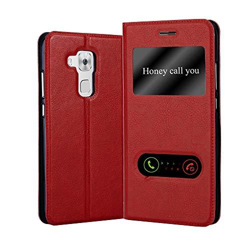 Cadorabo Hülle für Huawei NOVA Plus in Safran ROT – Handyhülle mit Magnetverschluss, Standfunktion & 2 Sichtfenstern – Hülle Cover Schutzhülle Etui Tasche Book Klapp Style