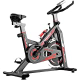 Lhlbgdz Indoor-Fitness-Aerobic-Übung Bikes Quiet Spinning Bike Fitnessgeräte Heim Pedal Heimtrainer Indoor Weight Loss,Rot