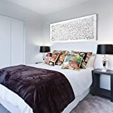 Mandala de Pared Calada, Fabricada artesanalmente en España- Mandala 3D Cuadrada Pintada a Mano- Modelo Mosaico 154 (Blanco Envejecido, 60x150cm)