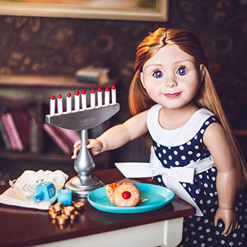 The Queen's Treasures Hanukkah Play Set! Menorah, 9 Removable Candles, Dreidel, 6 Pieces of Chanukah Gelt, Star of David Platter & Challah Compatible with 18 in American Girl Doll Holiday Accessories