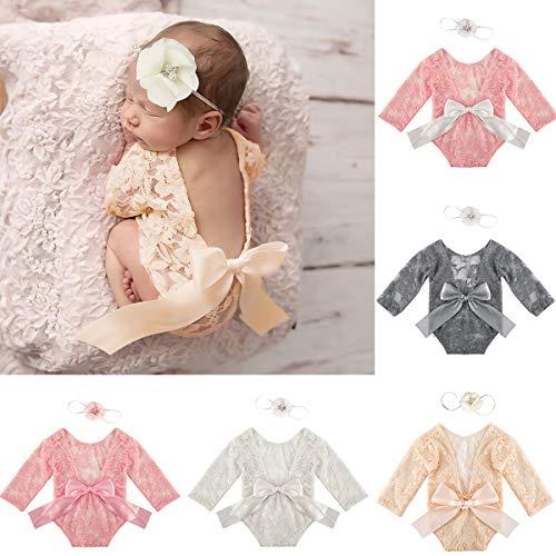 Camidy Neugeborene Spitze Fotografie Requisiten Strampler Stirnband Outfits Babyparty Fotoshooting Kleidung für Jungen Mädchen