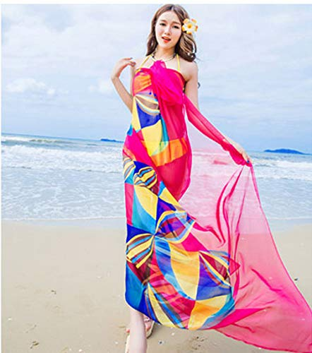 XKMY Bikini traje de baño para cubrir pareo bufanda mujer playa pareo playa cubre verano gasa bufandas diseño geométrico toalla de verano ropa de playa mujer (color: rojo, tamaño: talla única)