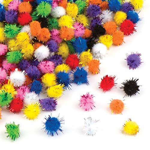 Baker Ross EX7922 selbstklebendes Glitter Poms Sparpackung-Ideal für Kunsthandwerk, Geschenke, Andenken und mehr für Kinder (Packung mit 200 Stück), Papier, Gelb