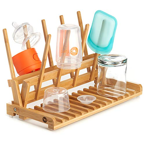 PopYum Space Saving Bamboo Drying Rack Countertop Wood Folding Collapsible for Baby Bottle Plastic Bag Cup Glass Silicone Water Bottle Wooden FSC Certified Compact