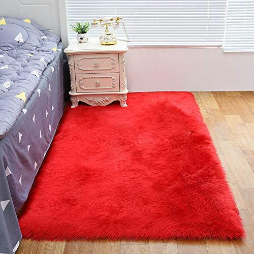 Vlekbestendig tapijt, volledig simuleren van de schapenvacht, kussens van de bank, matten, slaapkamer, woonkamer tapijt, gemakkelijk te reinigen,Big red,60 * 150cm