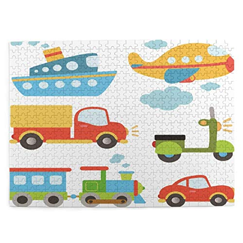 Dedesty 500 Pieces Art Picture Rompecabezas de Madera Transportation Types for Toddlers Car Ship Truck Scooter Jigsaw Puzzles for Adults Teens Funny Juego Familiar Hanging Home Decoration