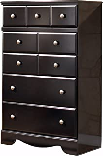 Ashley Furniture Signature Design - Shay Chest of Drawers - 5 Drawer Dresser - Almost Black