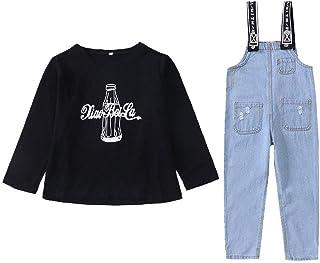 COCO1YA(ココイチヤ) デニムサロペット 子供 女の子 2点セット 長袖Tシャツ+サロペット オーバーオール ガールズ 春秋着 110-160cm