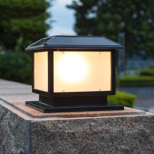 Bloomry Traditional Retro Outdoor Solar LED Door Post Column Lamp Square Solar Lawn Table Lights Vintage Pillar Post Lighting Glass Lantern Community Street Fence Night Safety Lighting