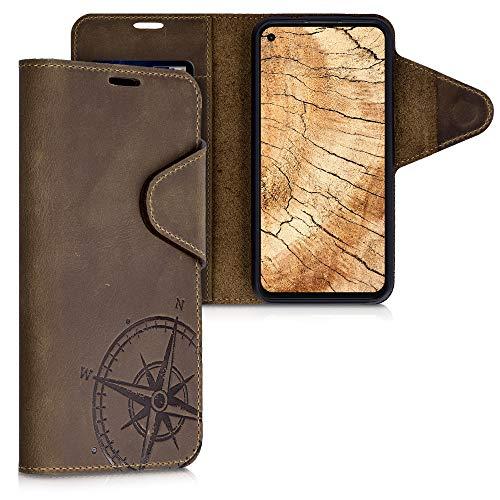 kalibri Wallet Hülle kompatibel mit Google Pixel 4a - Hülle Leder - Handy Cover Handyhülle Kompass Vintage Braun