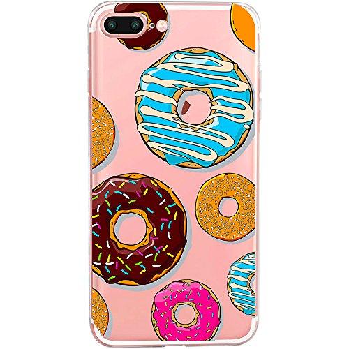 TheSmartGuard Hülle kompatibel für iPhone 8 Plus / 7 Plus   transparente Schutzhülle aus Silikon   Im Donut Muster Look mit bunten Donuts