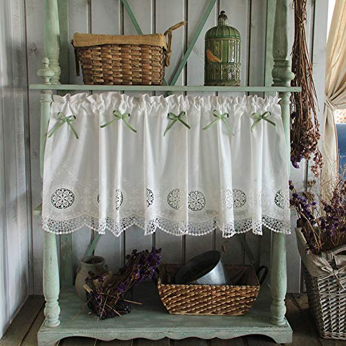 YCMY Cotton Window Tier Curtain Cafe Curtain Valances Knitted Embroidered Kitchen Half-Curtain Rural Style Bistro Curtain Short Curtains Window Curtain for Home, Bowknot.
