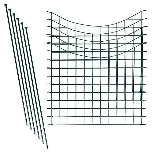 1PLUS Teichzaun Set/Komplett-Set in verschiedenen Verpackungseinheiten und Formen - Sparset mit Oberbogen oder Unterbogen (5X Unterbogen, Grün)
