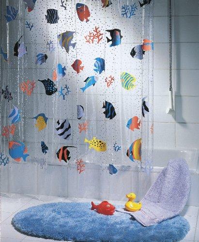 Spirella Anti-Schimmel Duschvorhang Fish Multicolor Anti-Bakteriell, waschbar, wasserdicht Vinyl 180x200cm