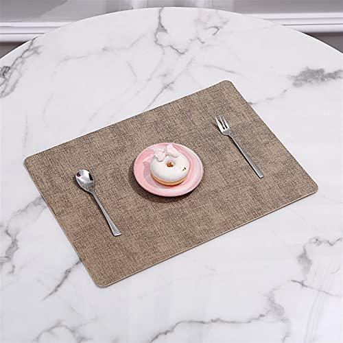 Rektangel plats mat porslin panna pu läder vattentät värme isolering doaster bord mat mjuka blå tvättbara skål kustar (Color : Rice apricot)