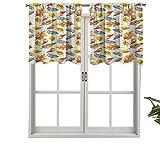 Hiiiman Cenefa opaca con bolsillo para barra de cortina, diseño de hojas inspiradas en la naturaleza, juego de 2, paneles opacos decorativos para el hogar de 137 x 61 cm