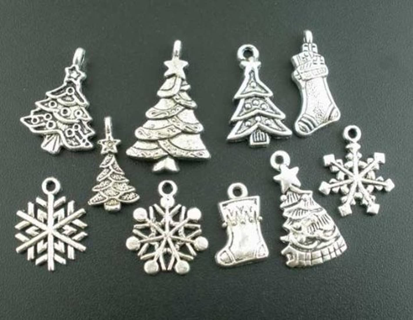 PEPPERLONELY Brand 40PC Mixed Antiqued Silver Christmas Charms Pendants