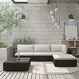 Festnight 5-TLG. Garten-Lounge-Set Sitzgarnitur Gartengarnitur Sitzgruppe Sofa mit Auflagen Poly Rattan Schwarz