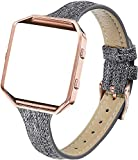 Amcute Slim Fabric Leather Bands Compatible with Blaze, Woven Replacement Accessories Strap Wristband Rose Gold Buckle Frame Women Men Compatible with Blaze Smart Watch (Black Gray)