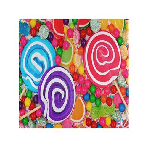 JIRT Glatte Wiederverwendbare Tabellen-Regenbogen-Bunte süße Süßigkeits-Abendessen-waschbare Stoff-Servietten Innen