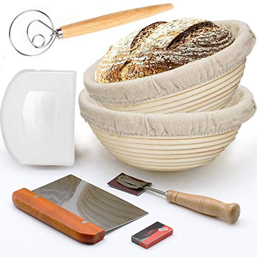 Bread Banneton Proofing Basket, 2 Pack 10' Bread Proving Baskets for Dough Rising(Round + Whisk)
