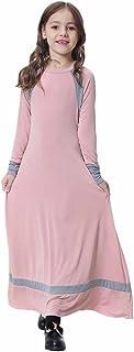 OBEEII فتاة مسلم 3D زهرة مزينة العباءة Jilbabs طويلة الأكمام الحجاب ماكسي اللباس كامل الطول الملابس