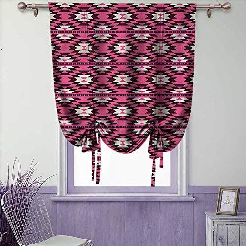 Aztec verduisteringsgordijn Home Fashion Tie Up gordijn voor slaapkamer & eetkamer raam, verstelbare Tie Up Shade Rod Latijnse Cultuur Geïnspireerd Motieven