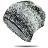 冬の縦縞ニットビーニーハットウォームメンズダブルレイヤー包頭ビーニーハット55-60cmグレー