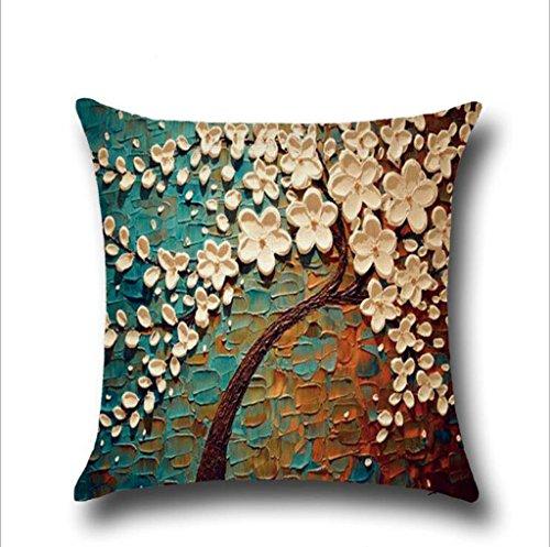 Longless Peintures en Trois Dimensions Arbres Fleurs en Coton d'oreiller Coussin Lombaire Automobile kit de Support