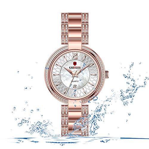 F-XDD Mode Uhr, Temperament Kleines Dial Strass Female-Uhr-Kalender Retro Stahlbandwasserdichte Edelstahl automatische mechanische Bügel,Rosa