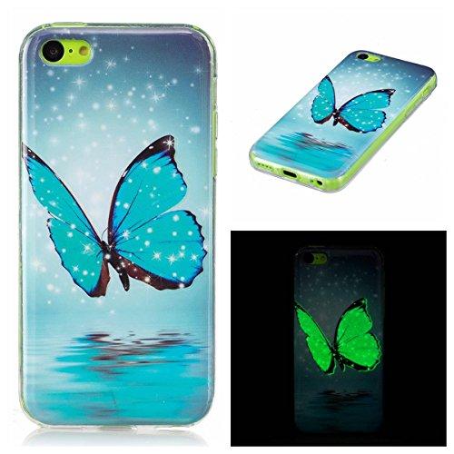 OnlyCase Cover per iPhone 5C, Premium Elegante Effetto Luminoso TPU Morbida Silicone Gel Elegante Custodia con,Nottilucente Verde Glow in The Dark Custodia Antiurto, Farfalla