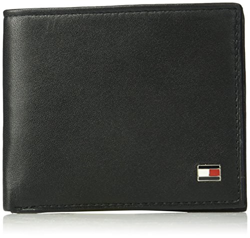 Tommy Hilfiger Men's Leather Wallet - RFID Blocking Slim Thin Bifold with Removable Card Holder and Gift Box, Oxford Black